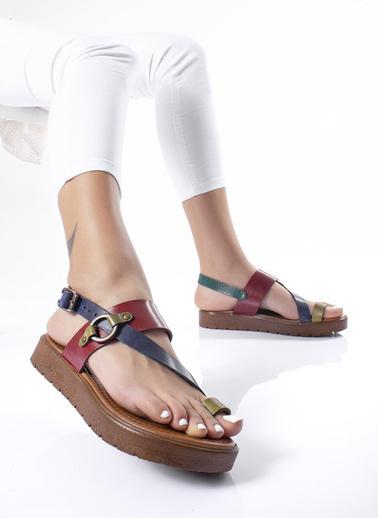 MODAGON Hakiki Deri Sandalet Terlik Renkli